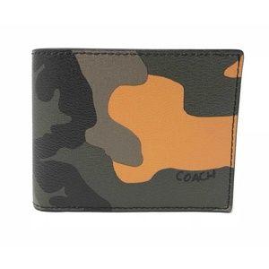 Coach Men's 3 In 1 Camo Tangerine Multi ID Wallet